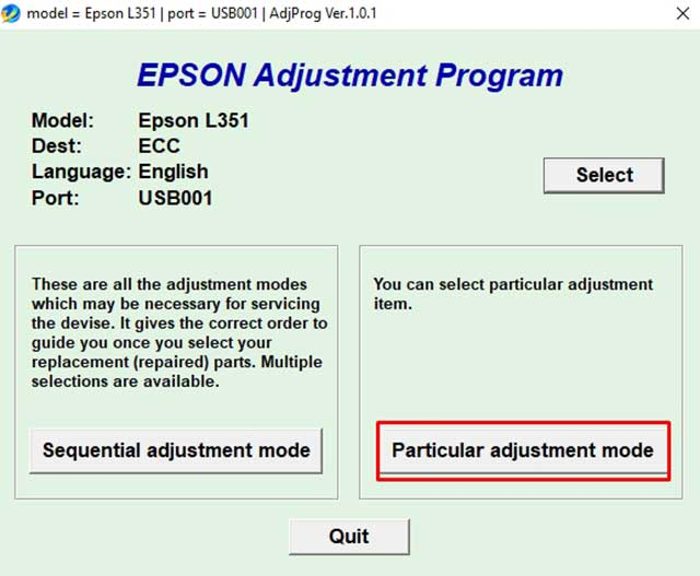 Particular adjustment mode epson l351