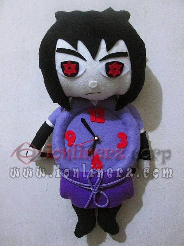 Jam Dinding Flanel Karakter Kartun Boneka Sasuke