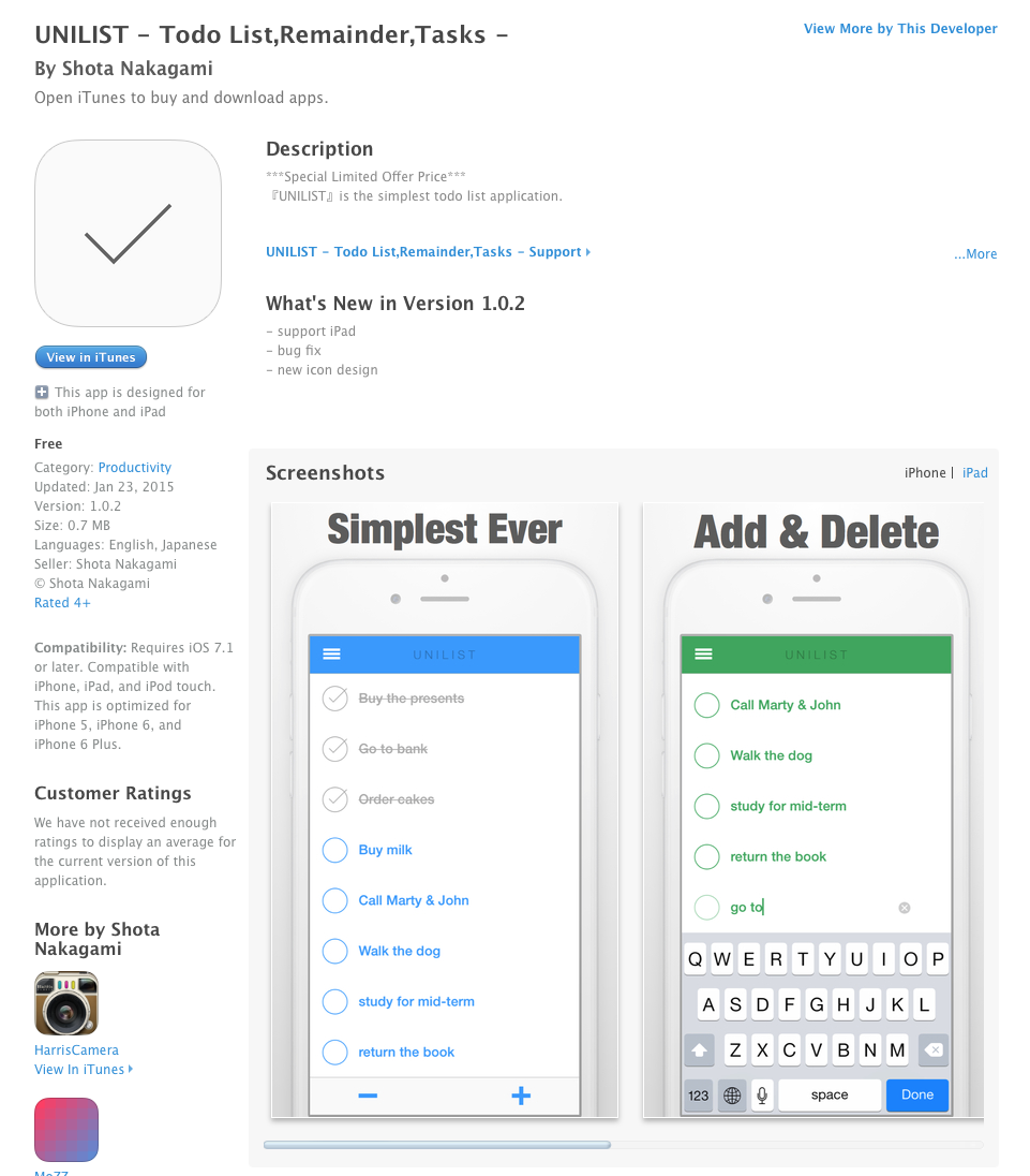 UCET Free iOS App Today: UNILIST - Todo List,Remainder,Tasks - UCET