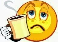 Emoticon cansando tomando café