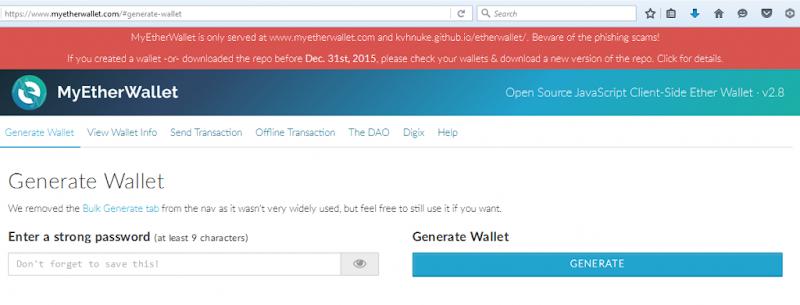 Tạo ví, tài khoản Ether ( Ethereum ) tại MyEtherWallet.com