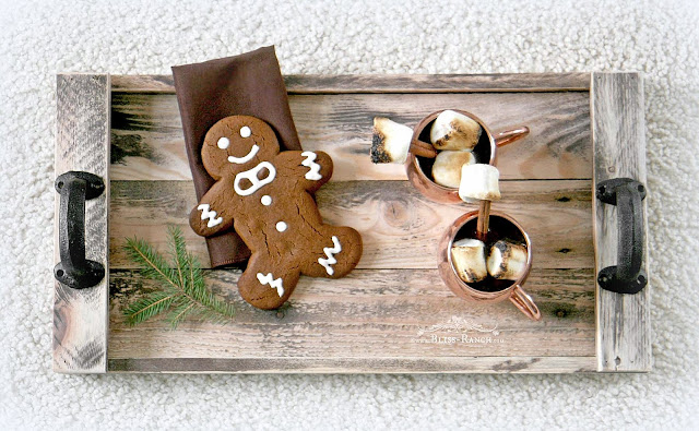 Pallet Wood Tray Copper Tone Decorated Christmas Bedroom Bliss-Ranch.com