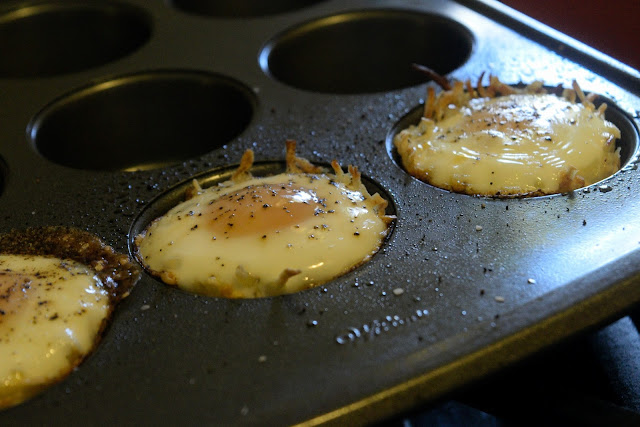 The breakfast bird nests fresh out of the oven.