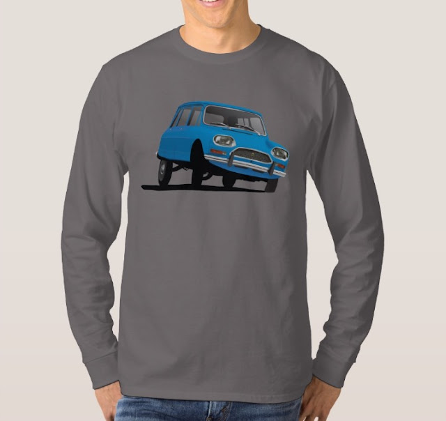 Blue car classic Citroën Ami 8 t-shirt