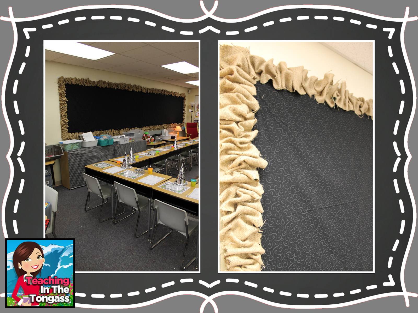 Classroom Chalk Decor ~ Burlap and chalkboard bulletin board classroom decor