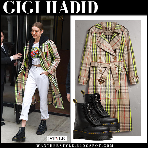 Gigi Hadid in yellow check laminated burberry trench coat, white jeans and black flatform boots dr. martens jungle street fashion february 12