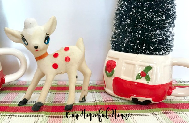 plaid placemat vintage white flocked reindeer bottle brush tree porcelain retro camper