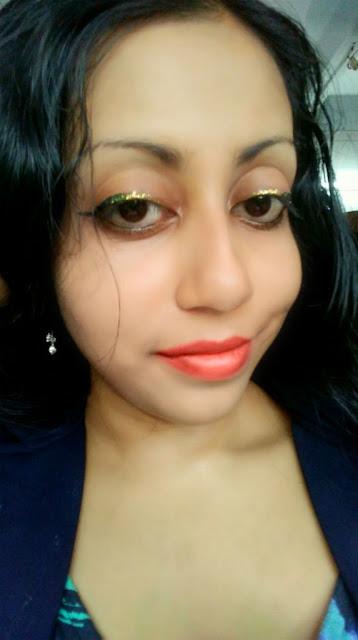 Me Wearing Kiko Milano Glitter Eyeliner on Kiko Black Gel Liner