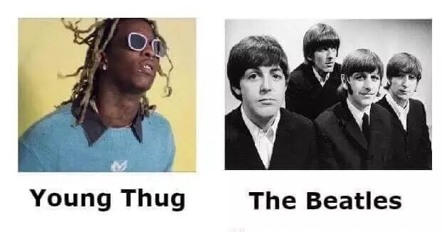 young thug the beatles young thug vs the beatles,Beatles Meme