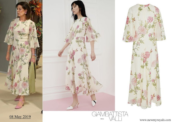 Princess Caroline wore Giambattista Valli Floral-print Silk chiffon Midi Dress