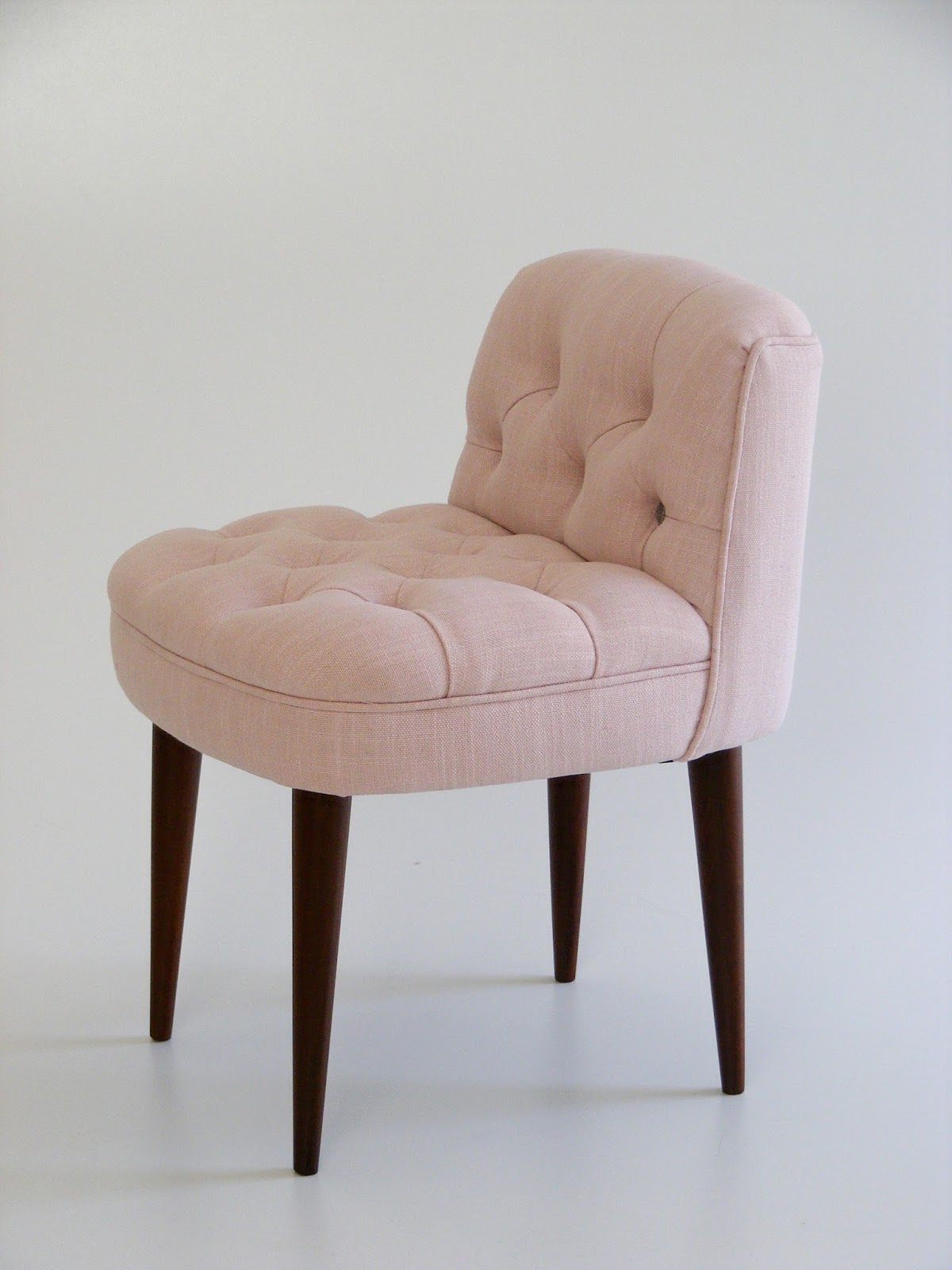 Small deep buttoned vintage dressing room chair re-upholstered in dusty pink  and grey (Hertex Fabrics) 9305eecea