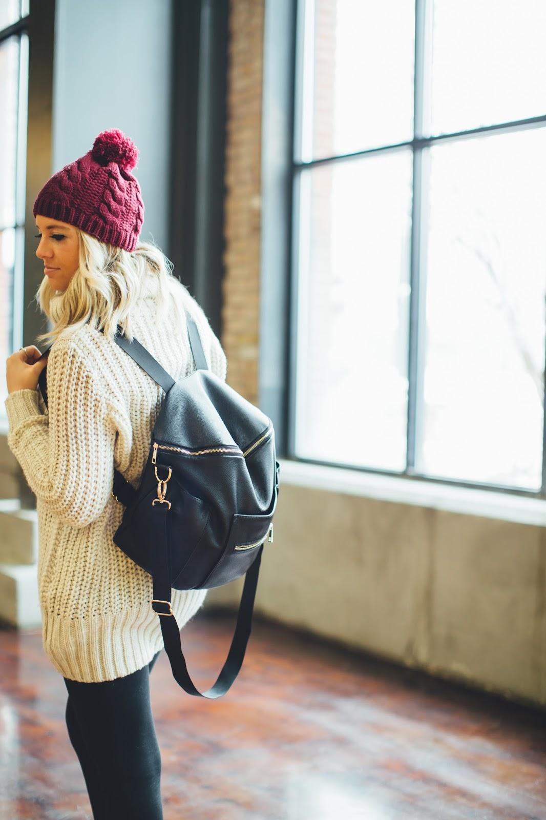 Fawn Design Diaper Bag, Winter Fashion, Utah Fashion Blogger