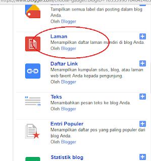 tambahkan widget laman atau page