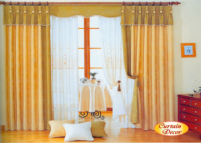 Best modern curtain designs 2016 curtain ideas colors, yellow and white rounded pattern curtains
