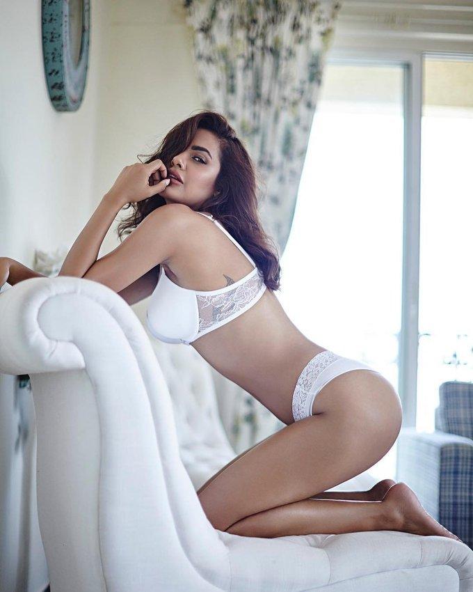 Esha Gupta Super Hot In White Lingerie Photo Shoot