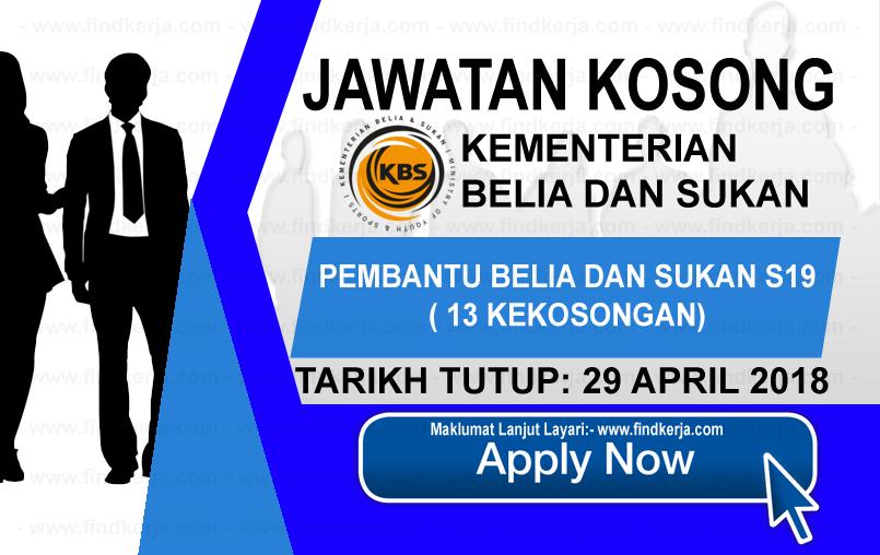 Jawatan Kerja Kosong KBS - Kementerian Belia dan Sukan logo www.findkerja.com april 2018