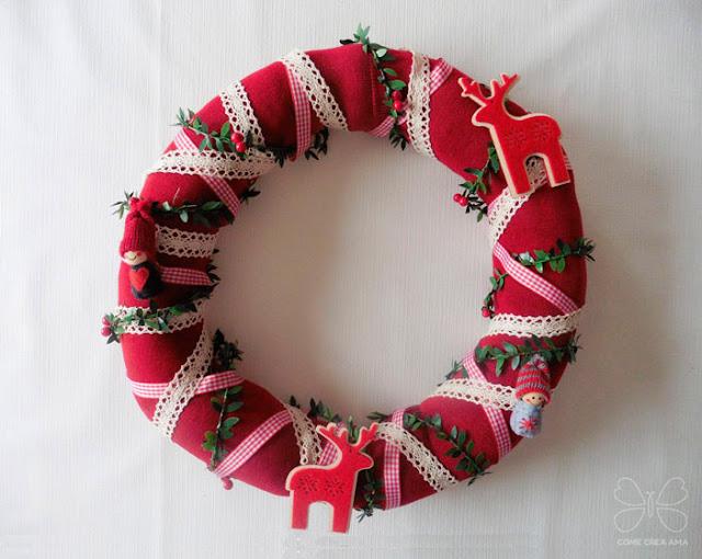 manualidades navideñas corona calcetines