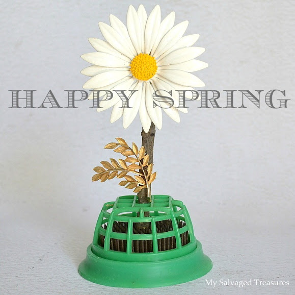 spring flower with daisy pin and floral frog