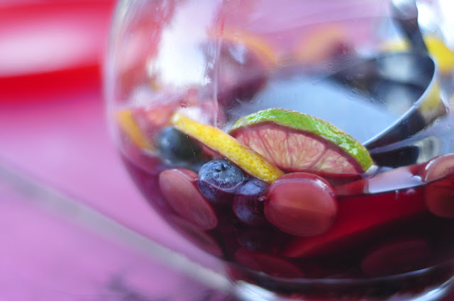 Sangria with fruit in a glass