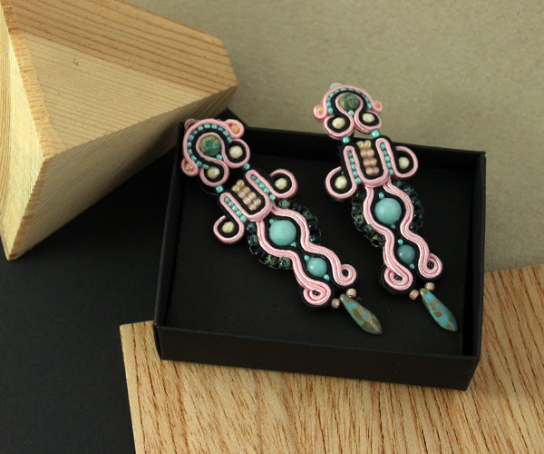 soutache earrings, firenzo, handmade with love, mint, pastel pink, black, contrast combination, handcrafted, jewellery, jewelry, sutasz, wiolaj,
