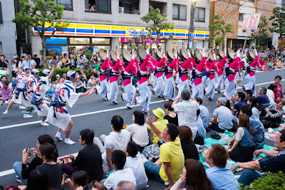 Street scene at the Minami Awa-Odori Venue of the Koenji Awa-Odori Festival, 2016.