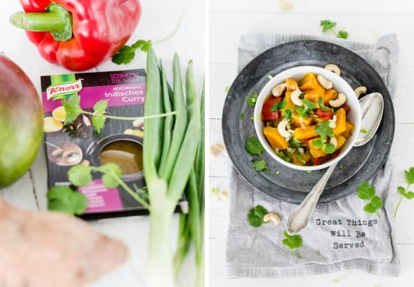 Rezept für Vegetarisches Süßkartoffelcurry mit fruchtiger Mango und Cashewkernen #schmeckdiewelt