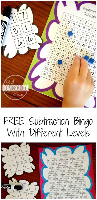 FREE Subtraction Bingo math game with different levels for first grade, 2nd grade, and 3rd grade students (homeschool, math practice, cool math games)