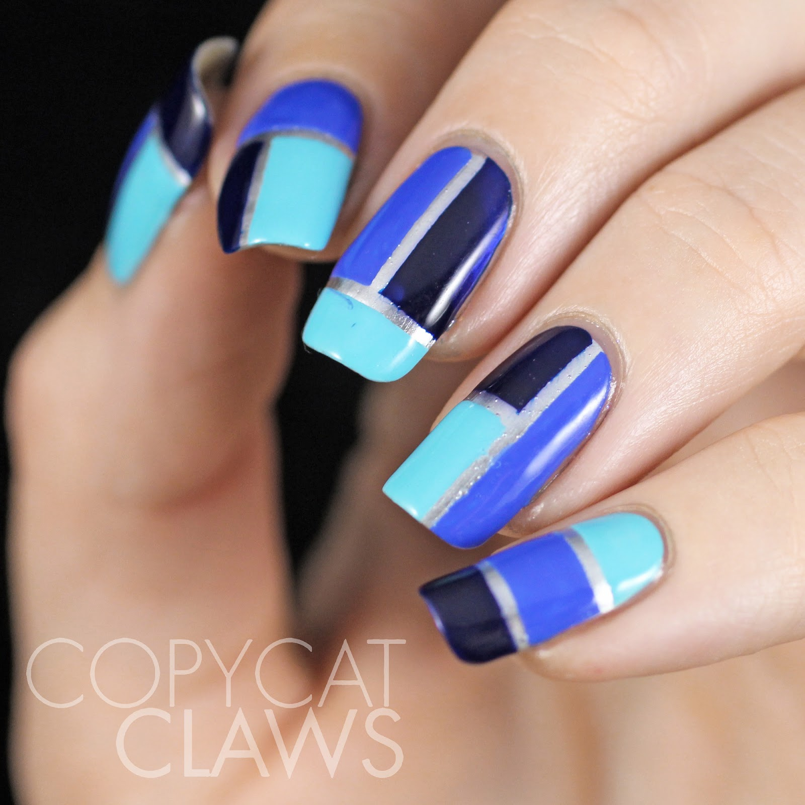 Copycat claws blue color block nail art the blues i used are china glaze capacity to see beyond turquoise blue and i sea the point medium blue and cult nails time traveller dark blue prinsesfo Images