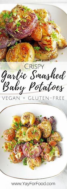 THE BEST CRISPY GARLIC SMASHED BABY POTATOES RECIPE