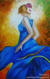 Dancing woman oil painting by Nimisha K