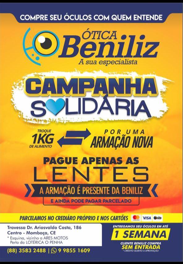 Participe você também da CAMPANHA SOLIDÁRIA DA ÓTICA BENILIZ ... d46a52f155