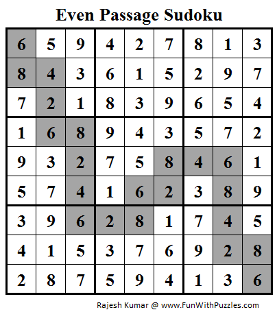 Even Passage Sudoku (Daily Sudoku League #91) Solution