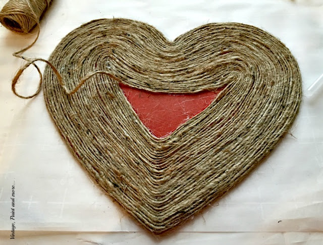 diy twine wrapped wooden heart