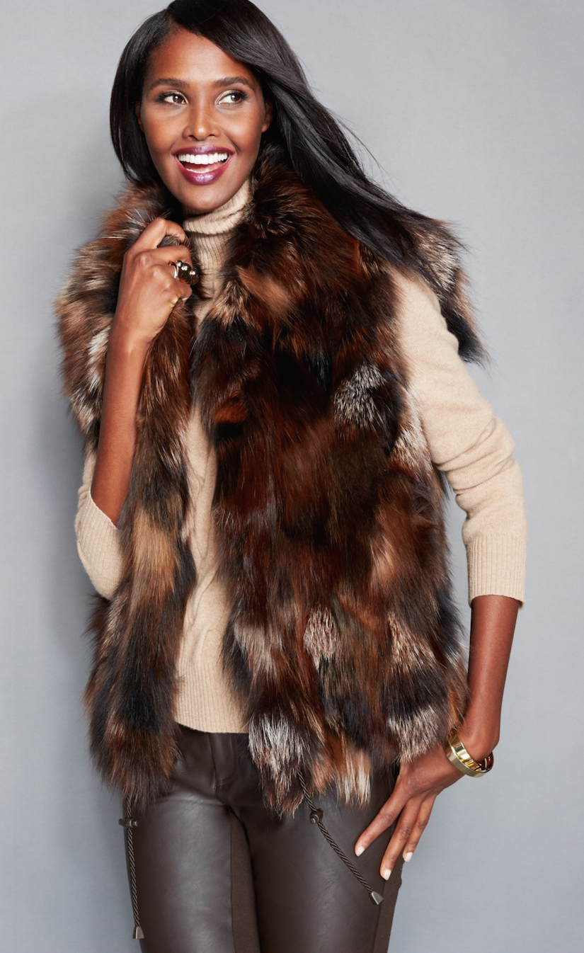 The Fur Vault Pieced Fox Fur Vest outerwear