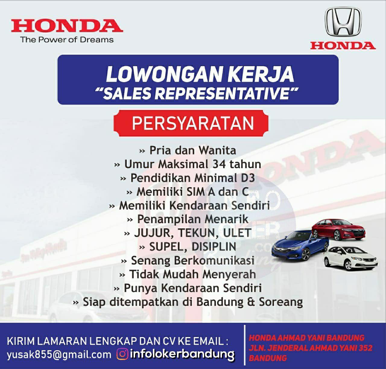 Lowongan Kerja Honda Ahmad Yani Bandung Desember 2018
