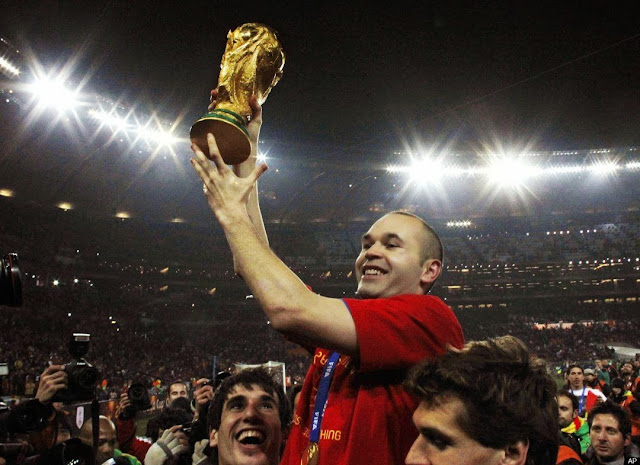 Iniesta with World Cup 2010
