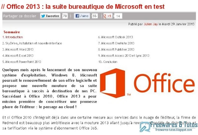 Le site du jour : Office 2013 en test