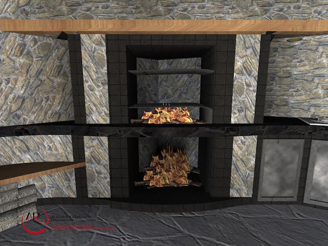 kominek z kamienia