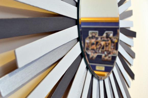 DIY Sunburst Mirror Silver paint Sticks