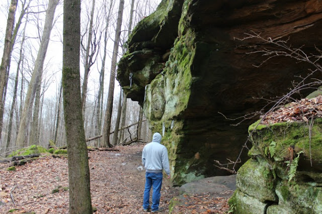 Looking for the carvings at Worden's Ledges