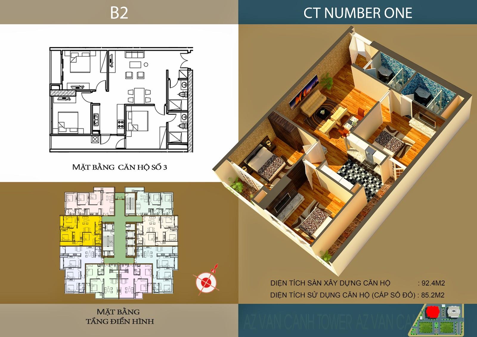 Căn số 3 - Diện tích 92.4m2 tại tòa B2 Chung cư CT Number One