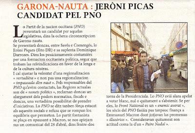 Jérôme Piques dans La Setmana, revue en occitan