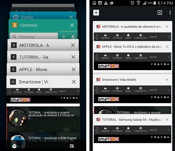 Mesclar guias e apps no Chrome para Android