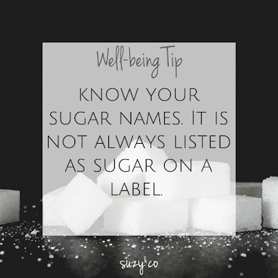 well-being tip: sugar on ingredients lists