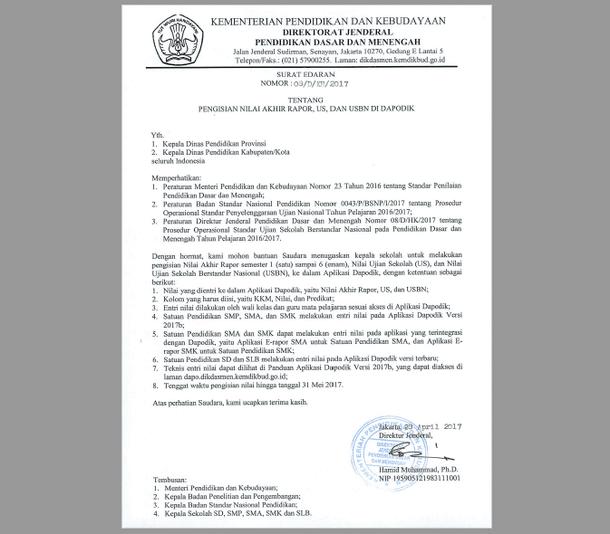 Surat Edaran Dirjen Dikdasmen Tentang Pengisian Nilai Akhir Rapor, US dan USBN di Dapodik