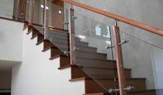 railing tangga kaca stainless steel