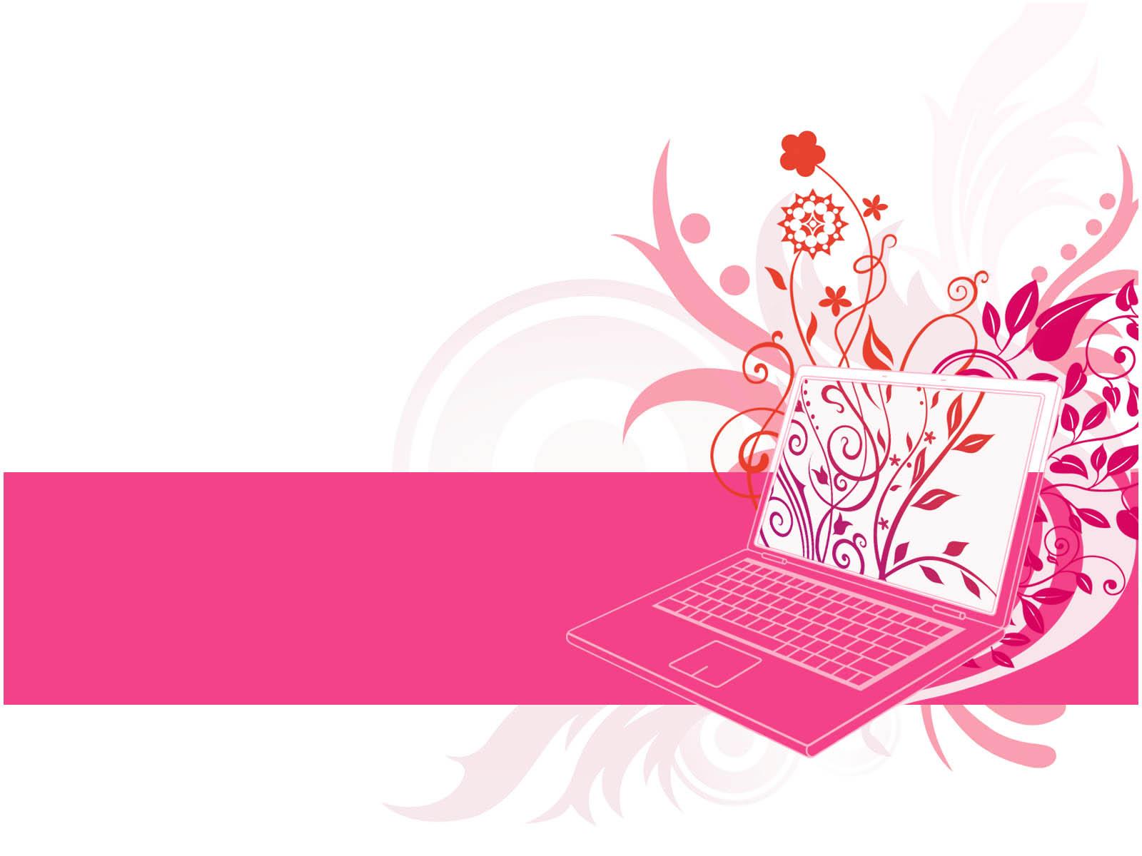 Floral Laptop Powerpoint Design - PPT Backgrounds Templates