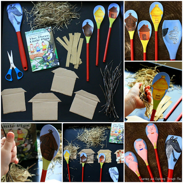 Story Spoons for The Three Little Pigs. Traditional Tale Activities for Preschool.