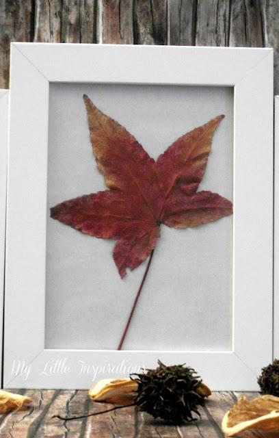 Quadretti con foglie secche d'autunno - foglia grande - My Little Inspirations