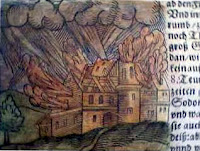 Illuminated manuscript picture of Sodom burning